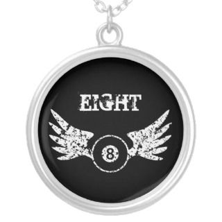 Eight ball with wings   billiards   pool necklace