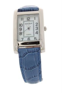 Gossip Silvertone Rectangle Case Primary Color Blue Strap Fashion