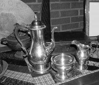 Jensen Tea / Coffee Serving Set 3 Piece Sterling Silver Ebony Handl