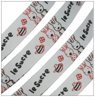 Cute Valentine Love Le Sucre Rabbit Shell Grey Grosgrain Ribbon