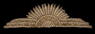 RARE 1920s Art Deco Flapper Girl Headdress Glass Beads Diamante Theda