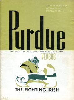 1964 purdue v notre dame football program excellent condition