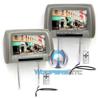 LCD Car Truck Van Headrest Screens Pillow TV Monitors IR New