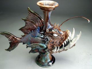 Face Jug Raku Pottery Southern Folk Art Sculpture by Grafton