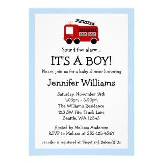 Fire Truck Boy Baby Shower Invitations