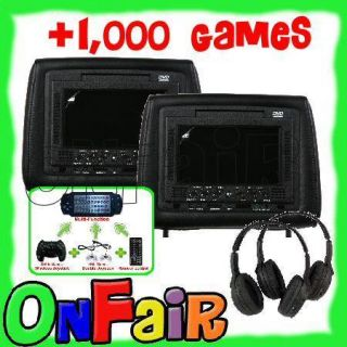 2X Black 7 Car Headrest DVD Player Monitor LCD