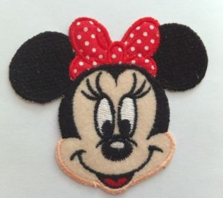 Embroidered Disney Minnie Mouse Head Iron on Sew on Patch Applique