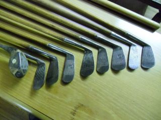 Hickory Shaft Golf Clubs Canvas Bag 1 Old Metal Shaft Club
