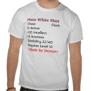 Plain White Shirt (Cloth Armor)   With Stats