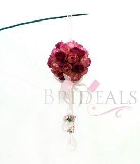 10x Silk Rose Wedding Flower Kissing Ball Arch Decoration Pink Fuchsia