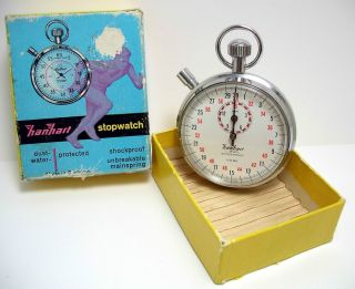 hanhart vintage pocket stop watch in box sticker on back 1 10 30m