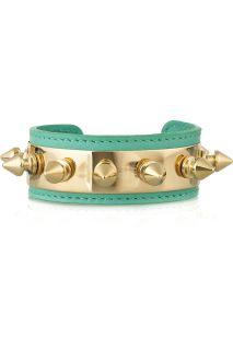 Aurélie Bidermann Camden 18 karat gold plated studded leather bracelet