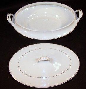 Harker White & Gold Trim Covered Bowl 10 1/2 Bow Arrow Semi Porcelain