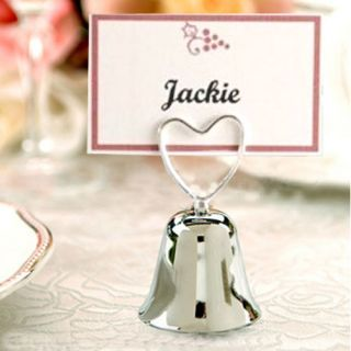 10 Wedding Silver Heart Bell Table Place Card Holders