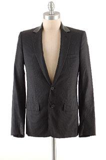 Dior Hedi Slimane Wool Garbardine Black Gray Pinstripe Jacket Leather