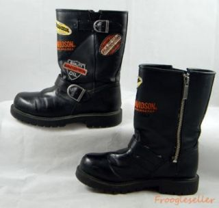 Harley Davidson kids boots youth 1 M black with logo patches