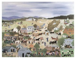 Grandma Moses Print Country Fair