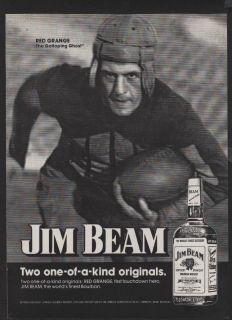 1974 Print Ad Jim Beam Bourbon Whiskey Red Grange