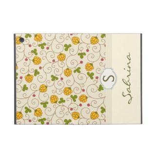 Yellow Floral Swirls Monogram Folio iPad Mini Case
