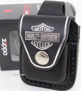 zippo harley davidson black lighter pouch case holder belt loop sheath