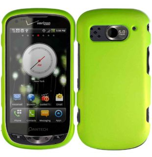 Rubberized Neon Green Hard Protector Case Phone Cover for Pantech
