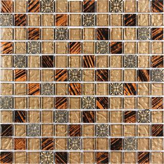 Bathroom Deco Stone Brown Orange Tiger Pattern Glass Mosaic Tile