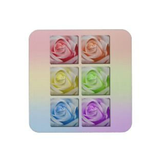 Macro Rainbow Roses Drink Coaster