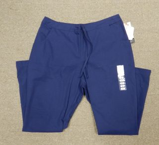 Katherine Heigl Navy Blue Drawstring Flare Uniform Scrub Pants L Short