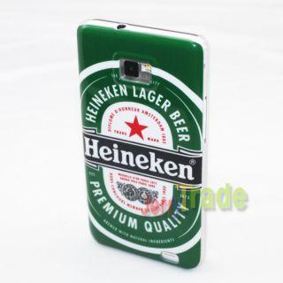 Heineken Beer Pattern Back Cover Hard Skin Case for Samsung Galaxy S2