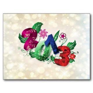 Año 2013 3D con inserciones florales Tarjetas Postales de