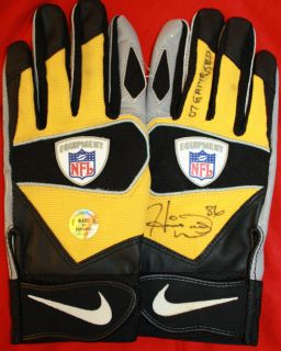HEINZ WARD GAME USED GLOVES and AUTOGRAPHED SIGNED with Certificate