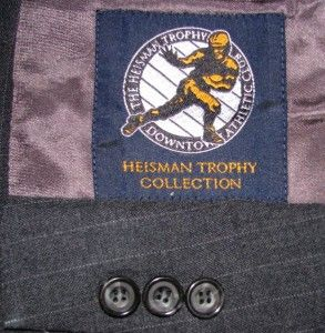 40L Dark Gray Pinstripe Heisman Trophy Wool Suit 34W x 31L Union Made