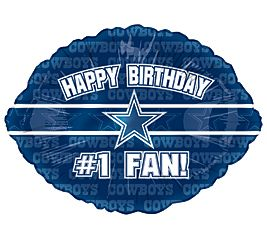 NFL Dallas Cowboys #1 Fan Happy Birthday 18 Football Shaped Foil