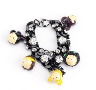 Harajuku Lovers Black Chain Dolls Bracelet Charm NWT Org 120 by Gwen