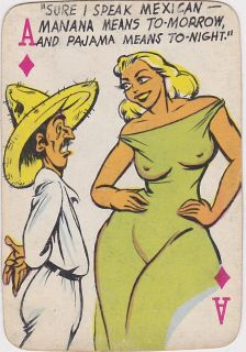 Speak Mexican Vintage Cartoon Graphic Art Comic Playing Card