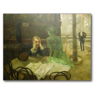 Viktor Oliva The Absinthe Drinke Postcard