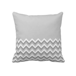 Gray and White Zig Zag Pattern. Part Plain Gray. Throw Pillows