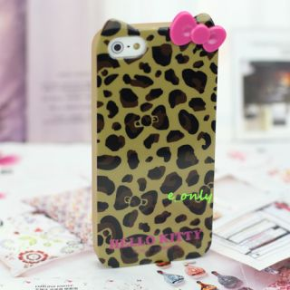 Cute 3D Bow Hello Kitty Soft TPU Skin Case Cover for iPhone 5