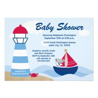 Cute boy elephant sailor baby shower invitation