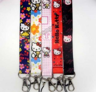 5pcs Hello kitty Cartoon LANYARD blue mobile phone chain KEY Neck