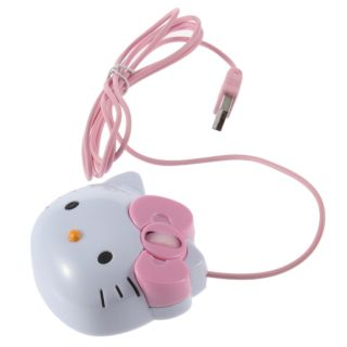 USB 2 0 Cartoon Hello Kitty 3D Wired Optical Mouse Mice 1200dpi for PC