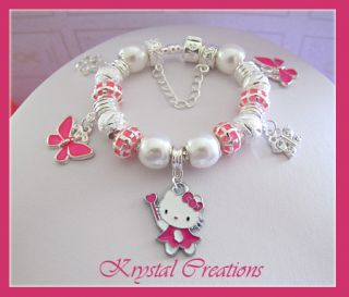 BRIGHT PINK Hello Kitty charm bracelet LOTS OF CHARMS Girls 16cm Gift