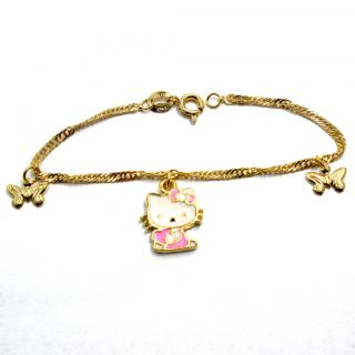Girl Infants White Pink Butterfly Hello Kitty Charm Bracelet 6