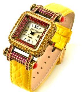 Heidi Daus Timeless Beauty Pavé Bezel Leather Strap Watch Pink Sold