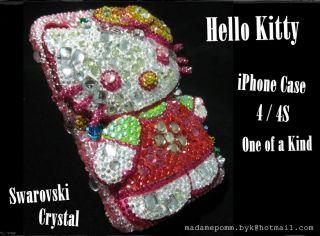 Hello Kitty iPhone Cover Case Skin for 4 4S Swarovski Crystal Handmade