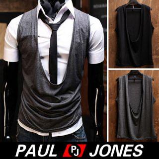 Low Cut Casual Slim Vest w Tank V Neck Black Grays US XS s M