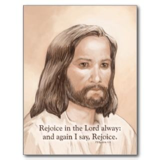 Sepia Jesus Art Bible Quote   Philippians 4:4 Post Cards