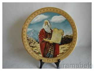 Danbury Mint Ten Commandments Moses Bible 24K Gold Rim