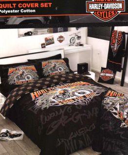 Harley Davidson motorbike Earn The Ride Queen Quilt DOONA Cover Set