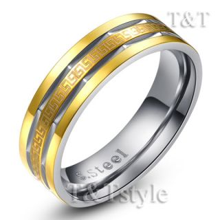 Gold GP Stainless Steel 6mm Greek Key Band Ring Size 10 R211